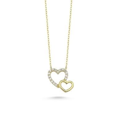 Online Takı Kalpli Gümüş Kolye Renkli